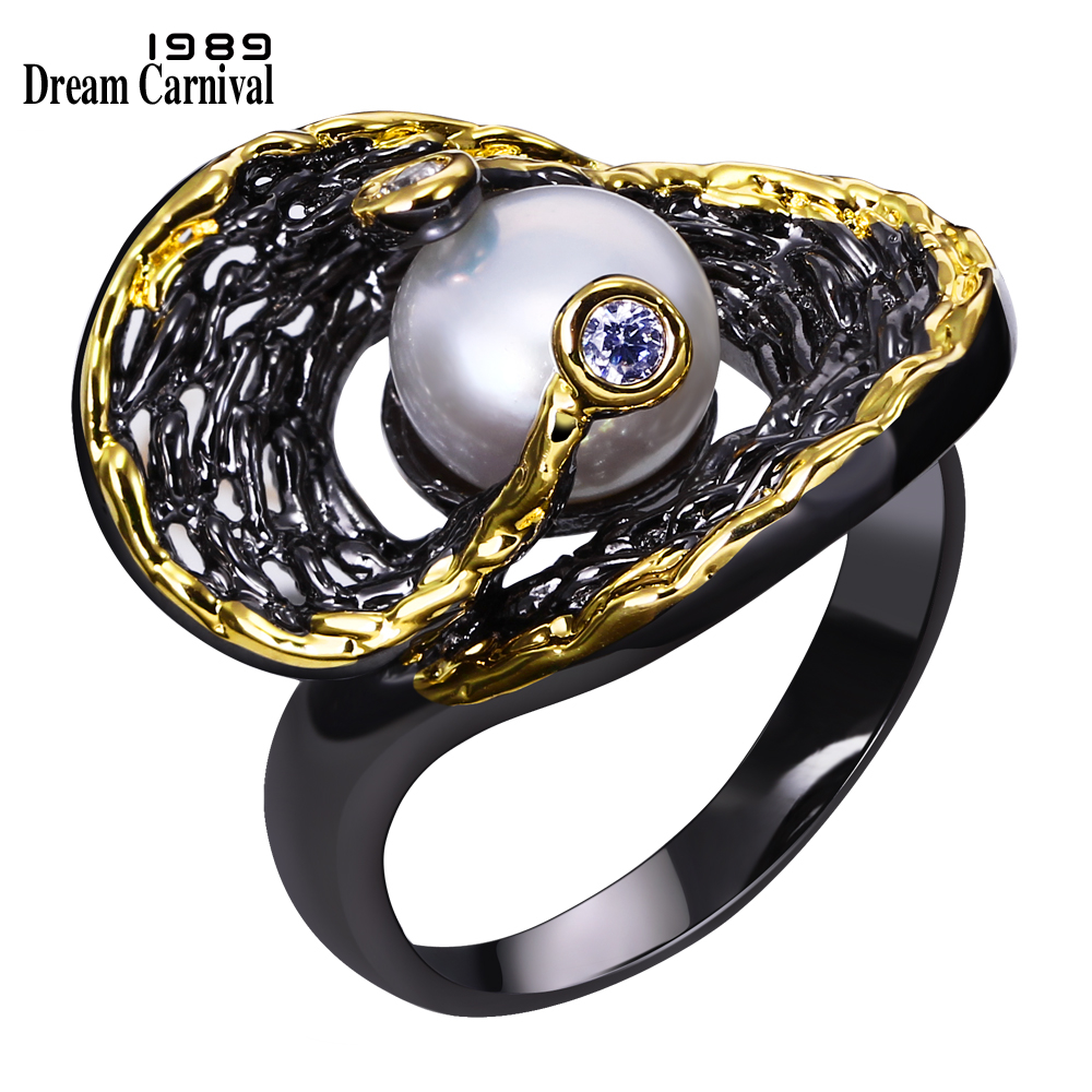 DC1989 Women Party Hiphop Cocktail Fresh Water Pearl Ring Black Gold Plated Zirconia Bezel Vintage Anillos Punk Sizes 7 8 9 10